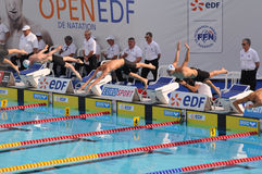Open EDF 2010 de Natation, Paris. Swimmers diving into water Royalty Free Stock Photo