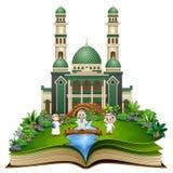 Open een boek met groep het moslimmensen schudden indient voorzijde van een moskee stock illustratie