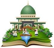 Open een boek met groep het moslimmensen schudden indient voorzijde van een moskee royalty-vrije illustratie