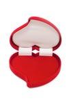 Open een lege rode hart-vormige buitensporige doos Stock Foto's