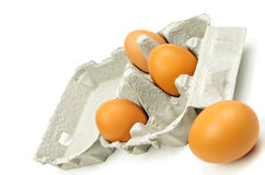 Open egg box and eggs Royalty Free Stock Image