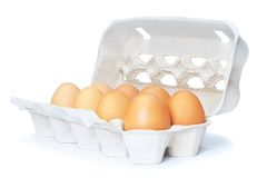 Open eggbox isolated Royalty Free Stock Photo