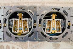 Open electric sockets strip Royalty Free Stock Photos
