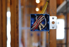 Open Electrical Box in a Home Under Construction Stock Photos