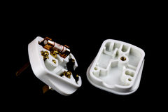 Open Electrical Plug on Black Background Royalty Free Stock Photo