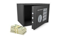 Open electronic safe with stack of money isolated on white Royalty Free Stock Photos