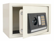 Open electronic safe   on white Stock Photo