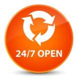 24/7 open elegant orange round button. 24/7 open isolated on elegant orange round button abstract illustration Royalty Free Stock Photo