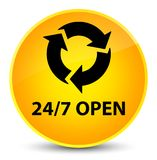 24/7 open elegant yellow round button. 24/7 open isolated on elegant yellow round button abstract illustration Stock Photo