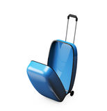 Open empty blue suitcase  top view Stock Photo