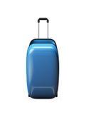 Open empty blue suitcase  on white background Royalty Free Stock Photos