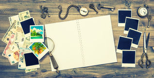 Open empty book, holidays pictures, cash money banknotes Stock Photos