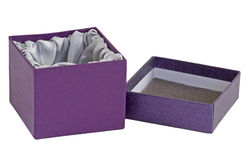 Open empty box with satin interior. Isolated. Stock Images