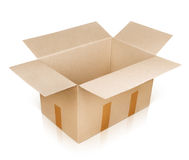 Open empty brown cardboard box Royalty Free Stock Images