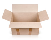 Open empty brown cardboard box Royalty Free Stock Photos
