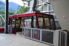 Open, empty cable car at a lower station. royalty free stock photos