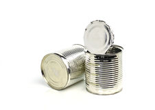 Open empty cans Stock Images