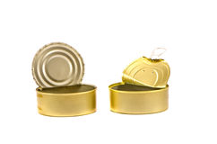 Open and empty cans on white background Stock Photo