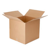 An open empty cardboard box. Open empty corrugated brown cardboard box on a white background Stock Photo