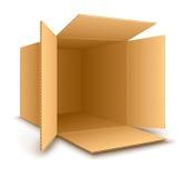 Open empty cardboard box. Eps10  illustration.  on white background Stock Photography