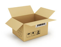 Open empty cardboard box 3d illustration, Stock Image