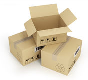Open empty cardboard box 3d illustration, Stock Photography