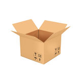 Open  empty  cardboard  box 3d illustration, isolated on white back Royalty Free Stock Photos