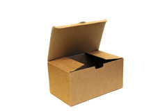 Open empty cardboard box isolated on white background Royalty Free Stock Photos