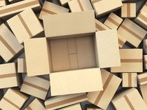 Open empty cardboard box Isolated on white background. 3d illustration Royalty Free Stock Photos