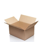 Open empty cardboard box. On white Royalty Free Stock Photo
