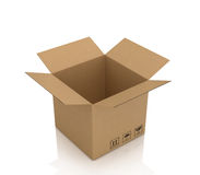 Open empty cardboard box Stock Images