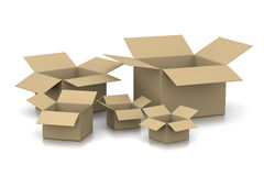 Open Empty Cardboard Boxes Stock Photography