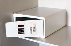 Open empty electronic hotel safe on a shelf Royalty Free Stock Photography