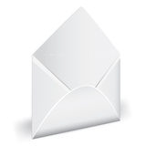 Open empty envelope with letter. Stock Photo