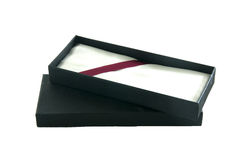 Open empty flat black gift box Stock Image
