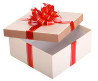 Open empty gift box and red bow Royalty Free Stock Photos