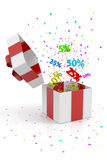Open gift box with stars and discounts Stock Photos