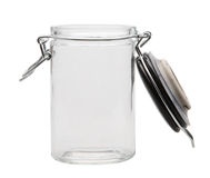 Open empty glass jar. With clipping path royalty free stock image