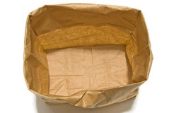 Open Empty Grocery Bag With Shadow Seen From Above Royalty Free Stock Images