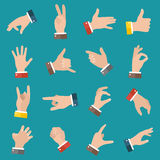 Open empty hands showing different gestures. 16 icons set isolated. Vector hand illustration royalty free illustration