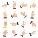 Open empty hands showing different gestures. 16 icons set . Vector hand illustration Royalty Free Stock Photos