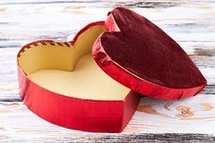 Open empty heart-shaped gift box. Royalty Free Stock Images