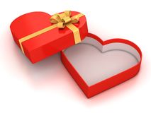 Open empty hearth shaped gift box Royalty Free Stock Photos