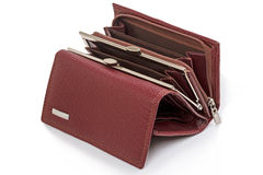 Open an empty leather wallet Stock Photography
