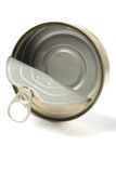 Open empty metal can Royalty Free Stock Image
