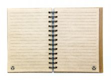 Open empty notebook. With lined pages on white background Stock Photo