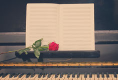 Open empty notes paper with red rose Stock Photography