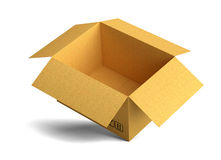 Open empty packing carton box stands on corner Royalty Free Stock Photos
