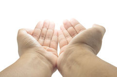 Open empty pray hands isolated Royalty Free Stock Photos