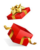 Open empty red gift with gold bow. Vector illustration Stock Photography